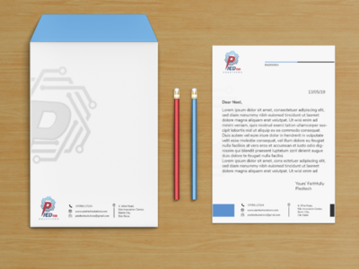 Piedtech letterhead and envelop design