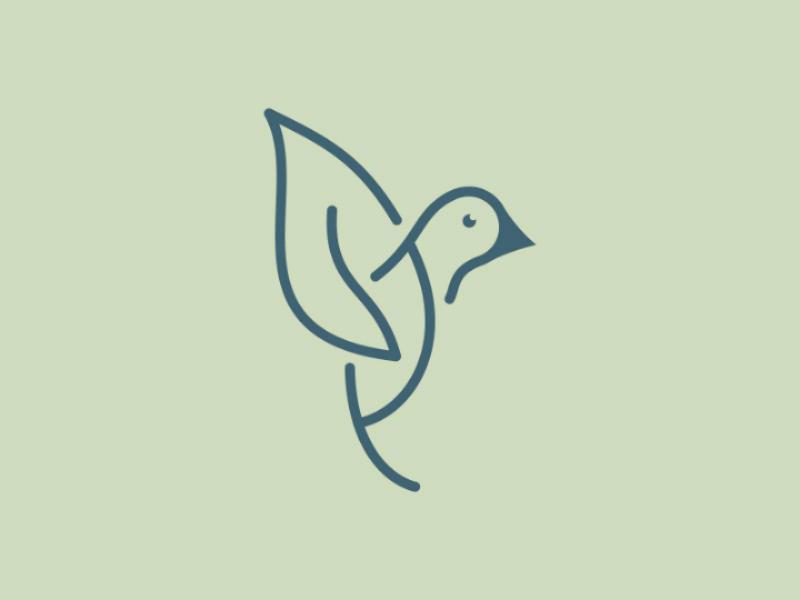 Leaf Bird Logo collibri hummingbird fashion eco modern green dove nature vector monoline outline bird leaf logo