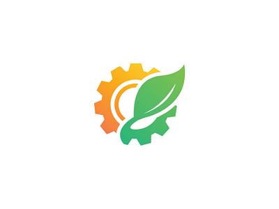 Gear Leaf Logo cogwheel industry factory eco mechanic engineering leaf gear vector logo