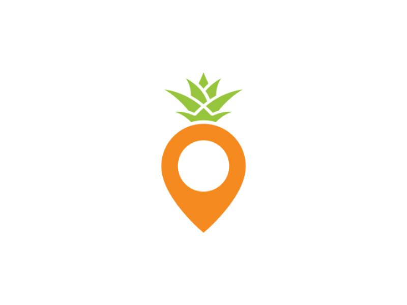 Pineapple Point Logo modern location tropical fruit travel map point pineapple vector logo