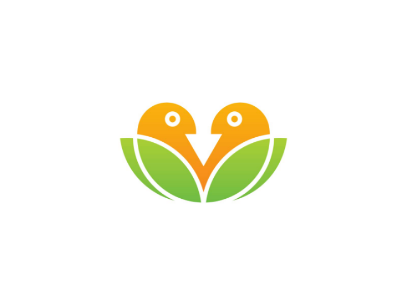 Bird Leaf Logo community landscape nature nest care health twin bird leaf vector logo