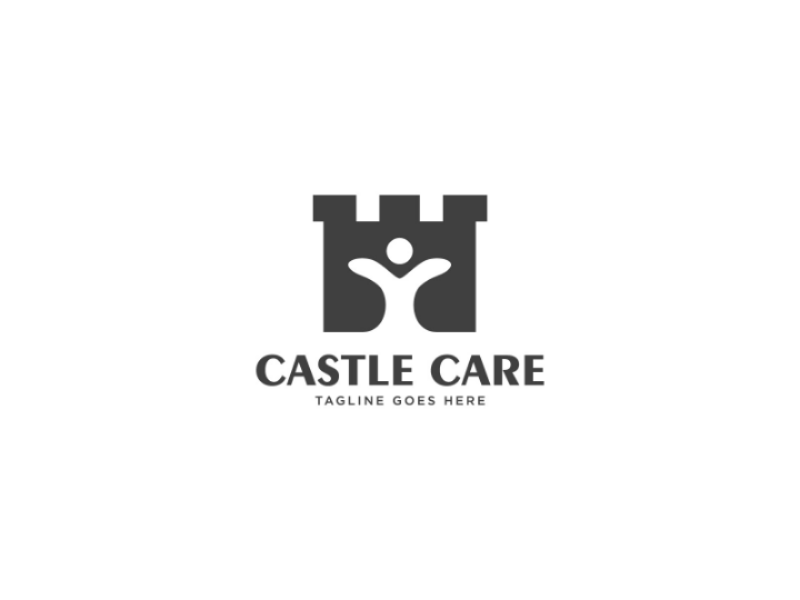 Castle Care Logo community security kingdom fortress building people health care castle vector logo