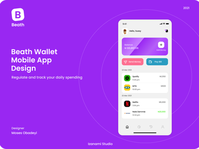 Beath Wallet Mobile App Design illustration branding graphic design flat design ui app