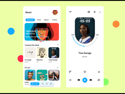 Music player UI design app graphic design ux animation illustration flat design ui app