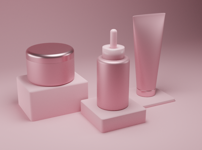 3D Cosmetics skincare pink blender blender3d cosmetics 3d