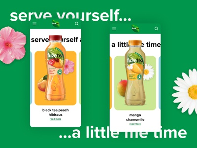 fuzetea experiment | serve yourself a little me time minimalistic minimalism minimalist mobile ui mobile fruit drinks drink orange green colors tea plants design