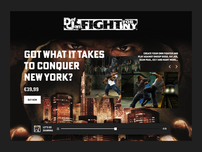 Experiment | Def Jam Fight For NY new york black white webdesign figma dark colors website game desktop dark music ecommerce design