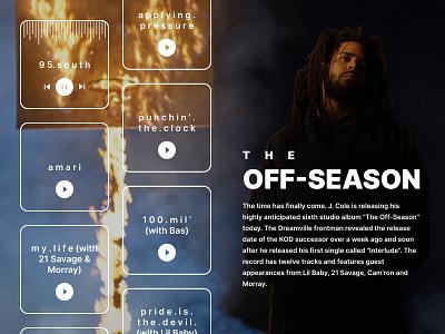 J. Cole - THE OFF-SEASON music player music hiphop webdesign dark design clean
