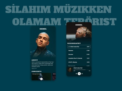About Ezhel | Music reggae turkey turqoise green clean dark design mobile design mobile ui mobile rap hiphop music music player