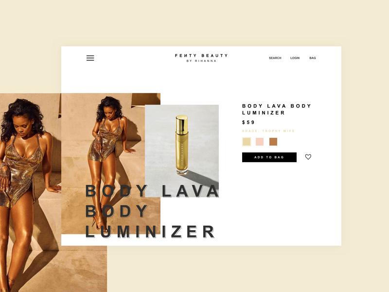 Experiment | Fenty Beauty Productpage beauty webdesign ui product page makeup fashion ecommerce design ecommerce