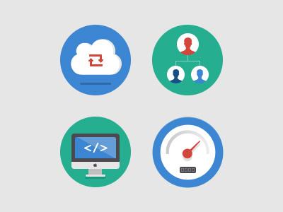 Flat Icons dashboard cloud speedometer icons flat imac account
