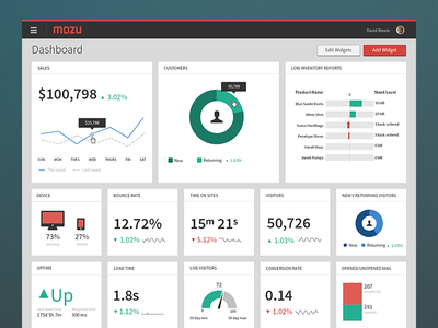 Mozu Dashboard flat source sans pro graph chart mozu dashboard reporting widgets ui