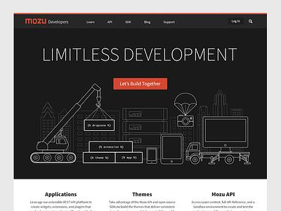 Mozu Developers developers development outline flat phone tablet crane camera tv server build skyline