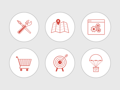 Illustrations illustration outline tools map browser cart arrow icons gears target parachute paint brush