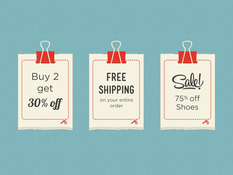 Discounts discounts coupons binder clip