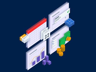 Section Illustrations illustration calendar money sales quota chart design isometric