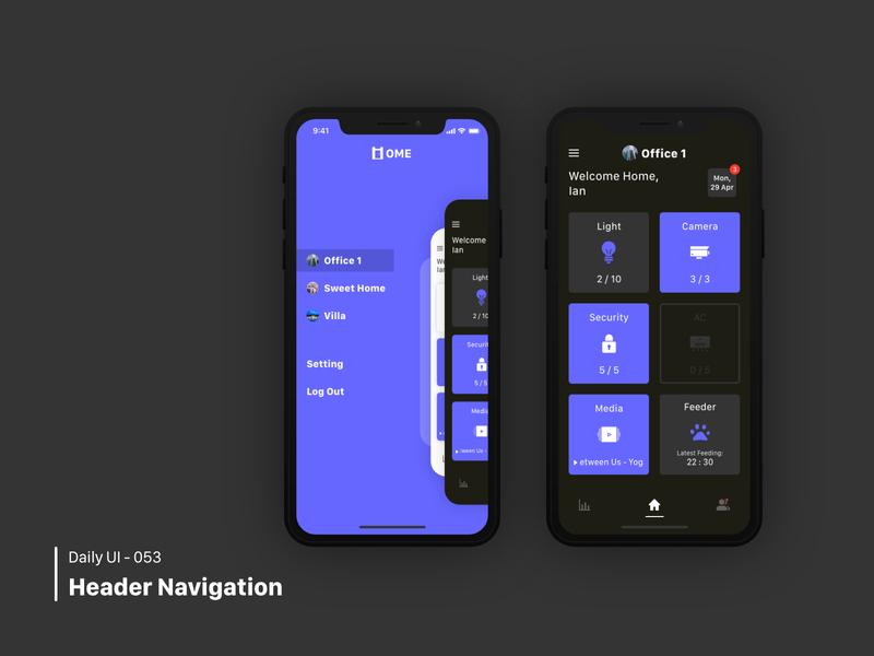 Daily UI 053 Header Navigation / 021 Home Monitoring Dashboard home monitoring dashboard header navigation dailyui 021 dailyui 053 dailyui100