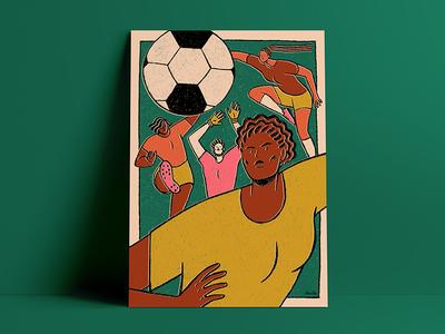 Les Dégommeuses féministe feminism feminist art feminist affiche soccer sport poster photoshop pencil crayon illustration