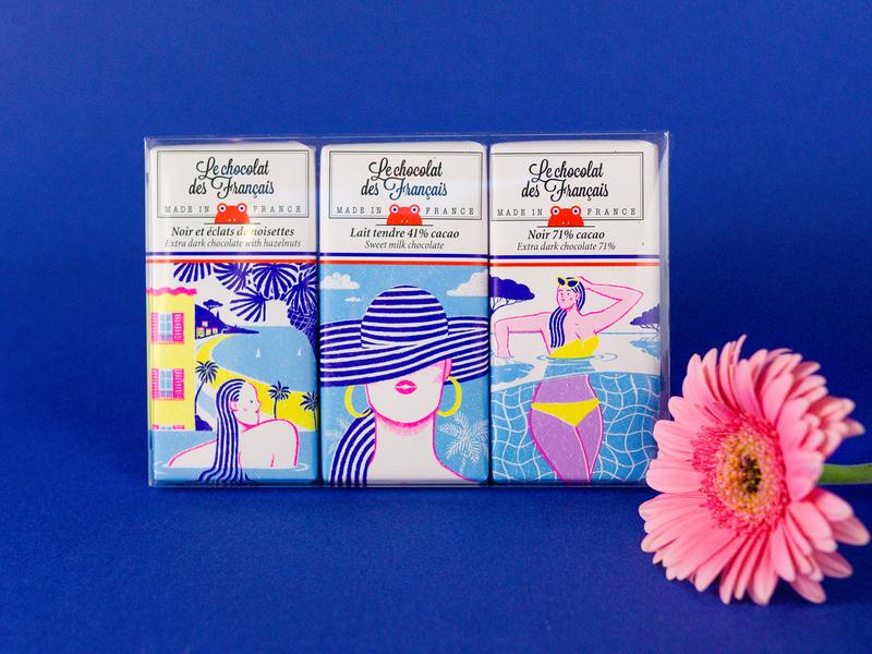 Chocolat des Français alice des pencil photoshop crayon france french riviera chocolate bar food illustration packaging pack français chocolat