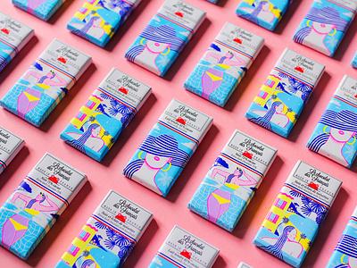 Le Chocolat des Français women femme summer beach plage french riviera design chocolate packaging chocolate bar packaging pack chocolate food chocolat alice des photoshop pencil illustration crayon