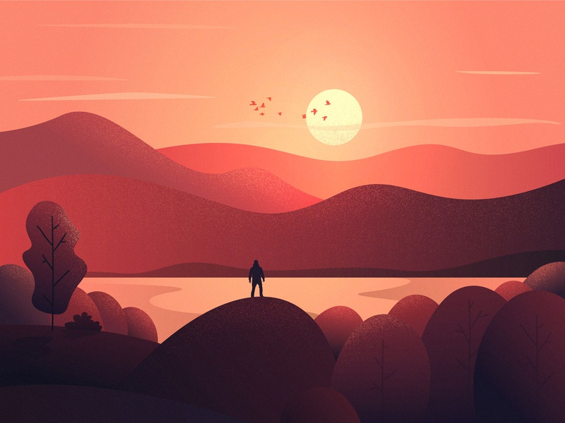 Peak after peaks vector meditation travel app calm climbing travel agency hiking journey travel app ux ui design birds lake sunset mountains peaks landscape illustration