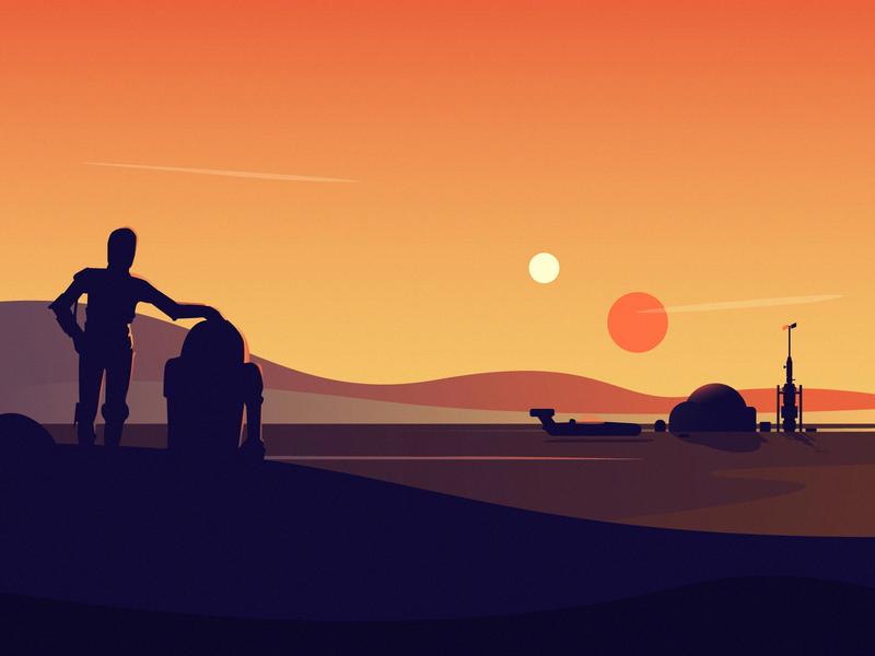 Sunset at Tatooine holidays traveling desert simple lucasfilm c3po r2d2 robotic robots star star wars sunset landscape illustration fireart studio