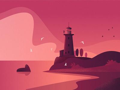 Lighthouse lake landscape design app texture grainy vector rocks cloud pink pinky pinkish purple birds sea lighthouse illustration