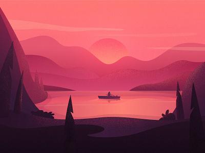 Calm on the lake chill modern texture grain mountains hills mountain landscape design sunrise boat lake sunset illustration