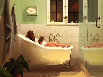Reading photoshop chill fireart fireart studio quarantine bathroom book bath girl digital painting quick illustration