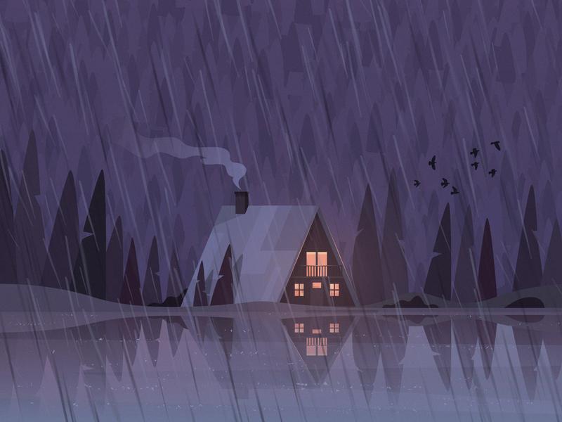 Rainy Mood sleepy board game warm tea orange purple forest landscape house mountain rainy rain lake illustration