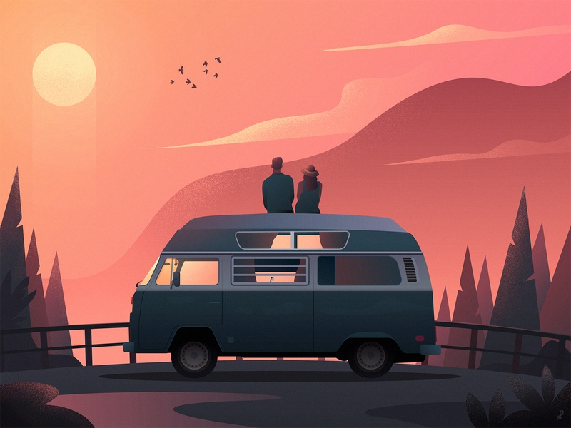 Travelers old car missing quarantine covid19 poster birds clouds couple car van camper forest trees mountains illustration landscape sunset fireart journey travelers