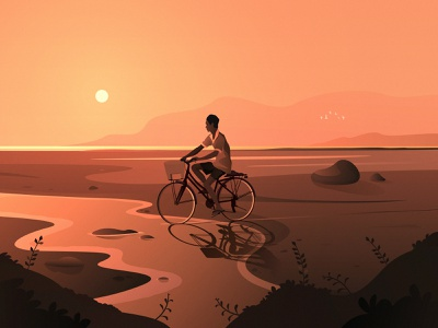 Ride at sunset nature sunset landscape vector biker sunrise sun fields kid boy fireart studio design birds mountains ride bike illustration