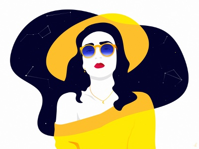 Luna white black yellow moon hat cosmos sky vector sunglasses stars design fireart studio landscape fireart illustration portrait woman