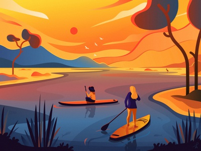 Sup Safari paddle board nature vacation holidays posters sketch poster illustration art chill travel trip vector mountains lake fireart studio safari africa kayak sup illustration