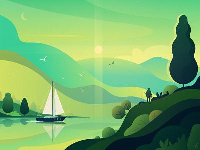 Sail nature art voyage green holidays weather ui ux app travel lake fireart studio mountains landscape vector illustration design ship yacht sail