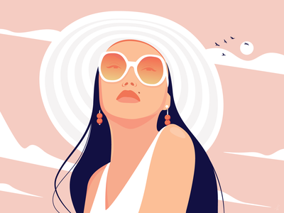 July studio trip sunglasses fashion relax chill vacation summer holidays design clean vector portrait fireart studio sunny woman hat hot girl illustration