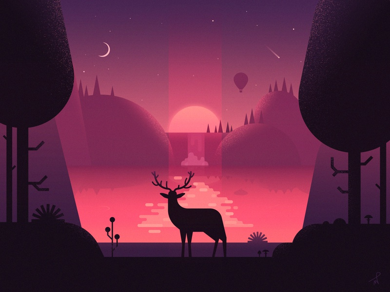 An Early Morning At The Lake landscape moutains hills ballon mushroom deer animal fireart fireart studio purple moon sunrise sun journey may chilling chill lake morning illustration
