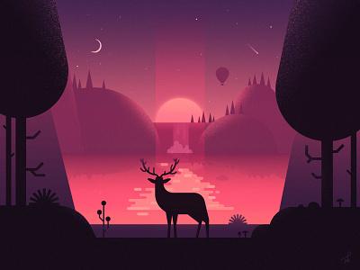 An Early Morning At The Lake landscape moutains hills ballon mushroom deer animal fireart fireart studio purple moon sunrise sun journey may chilling chill lake morning illustration