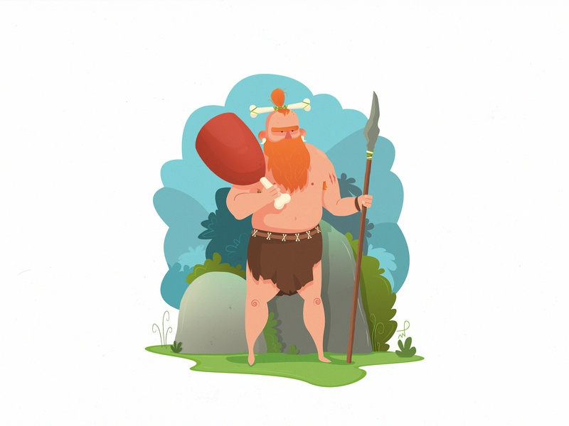 Hunter 10,000 BC hipster caveman ginger blue green florals bones fire fireart tribesmen mammoth prehistoric meat animal characterdesign character hunter illustration