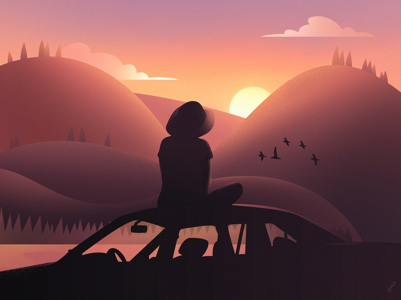 Nothing Else Needed forest vacation holidays summer chill fireart studio landscape illustration fireart mountains hills late evening lake yellow hippie sunset sun sitting girl