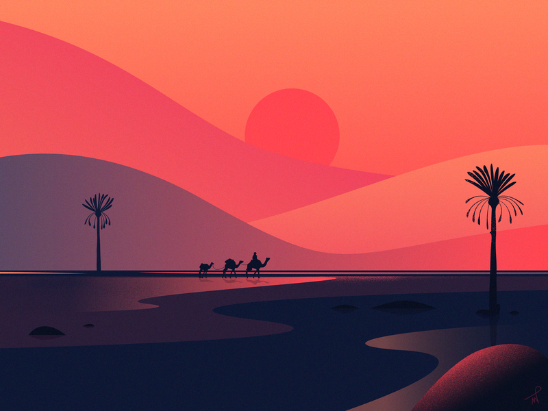 Journey journey traveling colors orange sand dune fireart studio designer illustration landscape caravan sunshine sunrise sunset sun red camel oasis nomad desert