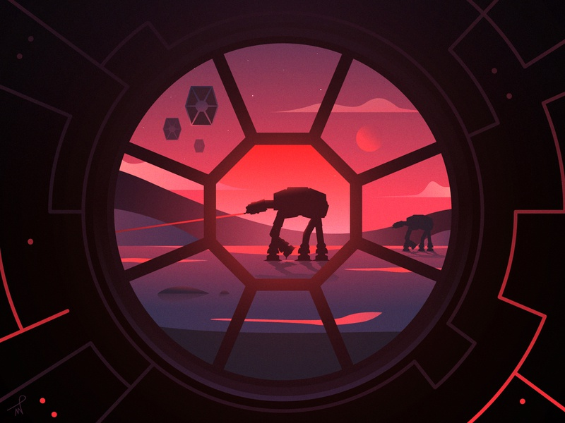 AT-AT Walkers On The Way gradient red purple star fireart studio fireart galaxy fighter tie planet sunrise walkers at-at space sunset landscape simple illustration star wars