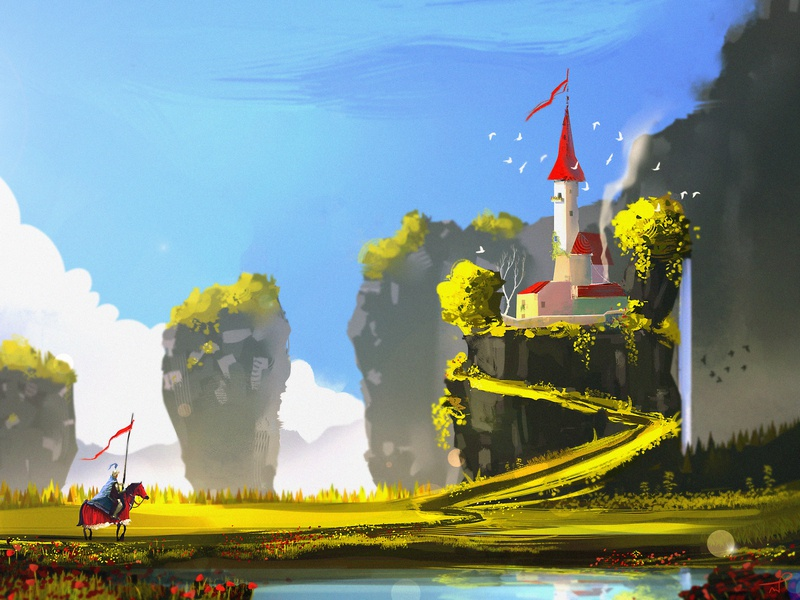 I hope the princess is at home city village waiting sunny day art fantasy dreamy queen king sky ui illustration landscape fairytale knight castle
