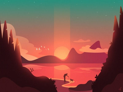 A walk with the dog dribbble digital stick beach sunrise sunset day animal chill landscape fireart illustration fireart studio times geographic mountains lake walking walk dog