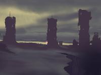 Post-apocalyptic city landscape