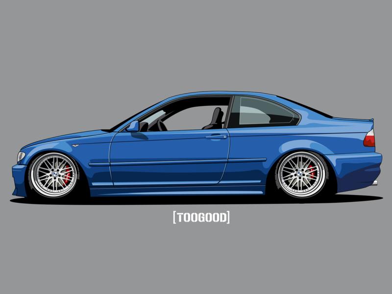 My BMW e46 Coupe estoril stanced bmw e46 figma car illustration
