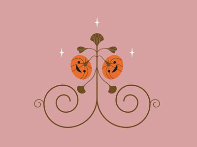 Pumpkin pattern ai botanical vintagecolor pattern floralpattern folk midcentury geometrical vector illustration