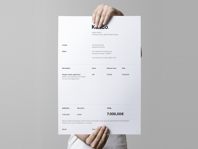 Kendo's invoice invoice grid print branding simple clean
