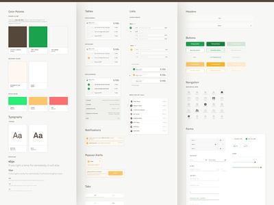 Rollbox Style Guide web ui toolkit styles style guide navigation elements design system palette color brand