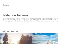Portfolio website template UI